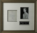 "Autographs:Celebrities, Eleanor Roosevelt Typed Letter Signed ""Eleanor Roosevelt.""One page, 5.75"" x 6.75"", Hyde Park, New York, August 18, 1939..."