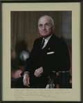 Autographs:U.S. Presidents, Harry Truman Signed and Inscribed Color Photograph A superb, verylarge color portrait, with lengthy inscription below, writ...