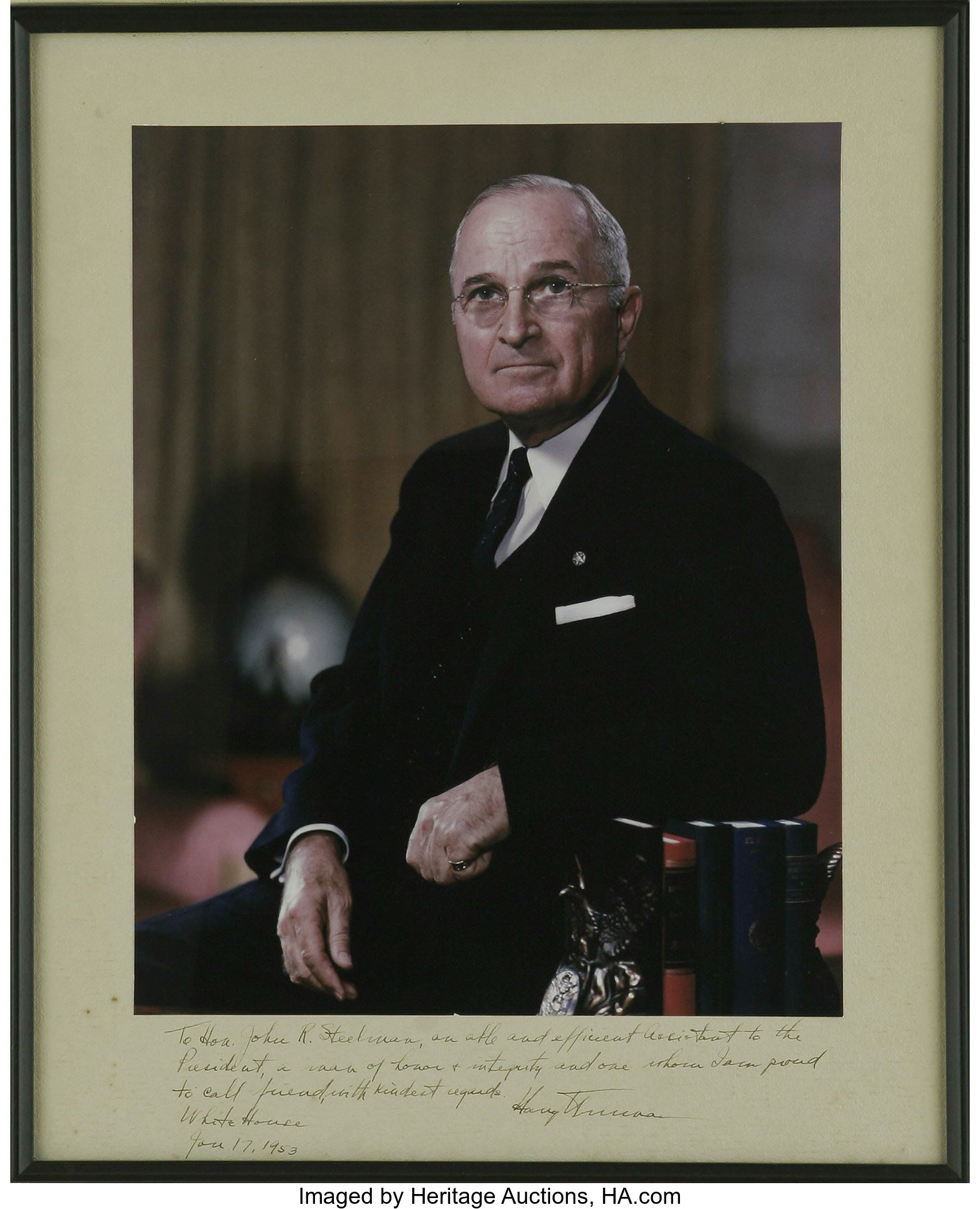 Harry truman signed and inscribed color photograph a superb lot 26248 heritage auctions