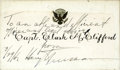 "Autographs:U.S. Presidents, Harry Truman Card To Clark M. Clifford Signed ""To an able and efficient officer and legal advisor, Harry Truman, 3/29/4..."