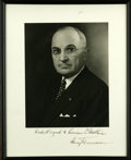 """Autographs:U.S. Presidents, Harry S. Truman Inscribed Signed Photograph, """" Kindest regards to Lawrence C. Ketcham Harry Truman"""". Large black and w..."""
