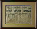 "Political:Miscellaneous Political, DEWEY DEFEATS TRUMAN Chicago Daily Tribune dated November 3, 1948, 16"" s 11"" folded in frame 24"" x 8.5"". Easily the most mem..."