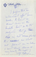 Autographs:U.S. Presidents, John F. Kennedy: As a 1960 Presidential Candidate, He Writes Notes for a Major Policy Speech on the Middle East to the Zionis...