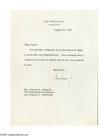 """Autographs:U.S. Presidents, John F. Kennedy Typed Letter Signed as President signed in ink, onepage (6.75"""" x 8.75""""), White House stationery, dated Augu..."""
