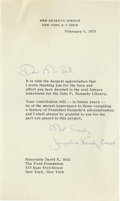 """Autographs:Celebrities, Jacqueline Kennedy Writes About the JFK Library in a Typed LetterS: """"Most Sincerely Jacqueline Kennedy Onassis,"""" 1p, 5...."""