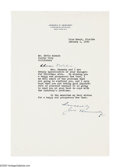 """Autographs:Statesmen, Joseph P. Kennedy 1940 Typed Letter Signed """"Joe Kennedy"""",one page on personal letterhead, dated January 1, 1940, Palm B..."""