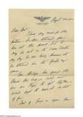"Autographs:Military Figures, Joseph P. Kennedy Jr. Autograph Letter Signed ""Joe Kennedy.""Two pages, 7"" x 10.5"", U.S. Naval Air Station Letterhead,...(Total: 2 )"