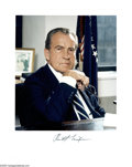 "Autographs:U.S. Presidents, Richard Nixon Photograph Signed ""Richard Nixon."" This colorphotograph, measuring 8.5"" x 11"" is of President Nixon sitti..."