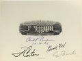 "Autographs:U.S. Presidents, Four U.S. Presidents- White House Engraving Signed ""Richard Nixon 12-10-86"", ""J Carter"", ""Gerald Ford"", and ""G..."