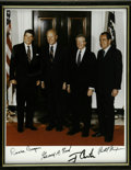 "Autographs:U.S. Presidents, Fine Group Photo Signed by Four Presidents: Reagan, Ford, Carter,and Nixon. Sharp full color 8"" x 10"" glossy photo, boldly ..."
