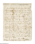 "Autographs:Statesmen, Aaron Burr Autograph Letter Signed ""A. Burr."" This 7.5"" x9.75"" handwritten, one page letter, with integral address leaf..."