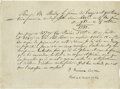 "Autographs:Authors, James Fenimore Cooper Autograph Document Signed ""J. FenimoreCooper."" One page, 8"" x 6"", Paris, France, February 8, 1832..."