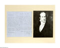 """Autographs:Statesmen, Henry Clay Autograph Letter Signed """"H. Clay"""". One page, 7.5""""x 8.0"""", August 11, 1850, New Port (possibly Rhode Island) t..."""