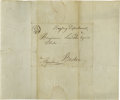 "Autographs:Statesmen, Alexander Hamilton Free Franked Envelope. Signed: ""Free, A.Hamilton."" Measures 7.5"" x 9"", addressed to Benjamin Linco..."