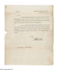 "Autographs:Statesmen, Alexander Hamilton Treasury Department Circular Signed ""A.Hamilton."" This 8"" x 10"" printed one page letter, withintegr..."