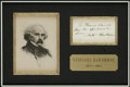 "Autographs:Authors, Nathaniel Hawthorne Autographed Note Signed. 2.5"" x 4.4"", black inkon note paper. Nicely custom-matted with portrait to 15""..."