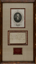 """Autographs:Statesmen, Sam Houston Discharge Document Signed in 1836 as Commander in Chiefof the Texas Army. One page, 7.5"""" x 5"""", manuscript, San ..."""