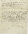 Autographs:Statesmen, John Jay Autograph Letter Signed In Which He Comments on the Affectof Two Post-War of 1812 Factors, the Explosion of the West...