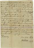 "Autographs:Military Figures, Wonderful Simon Kenton Document Signed Regarding Debt to William Wood. One page split, measures 8"" x 13"", dated May 13, 1800..."