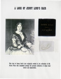 """Autographs:Celebrities, """"Swedish Nightingale"""" Jenny Lind's Hair. Here we have approximatelytwelve strands of operatic star Jenny Lind's hair. The..."""