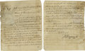 "Autographs:Statesmen, Declaration Signer Thomas McKean Document Signed as PennsylvaniaGovernor ""Tho M:Kean"". Two pages, manuscript, 8.5"" x 10.25""..."