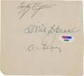 Baseball Collectibles:Others, 1950's Tris Speaker, Early Wynn & Al Lopez Signed Parchment....