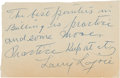 Baseball Collectibles:Others, 1950's Napoleon Lajoie Signed Note with Baseball Advice....