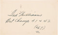 Baseball Collectibles:Others, 1946 Ted Williams Signed Government Postcard with IncredibleInscription. ...