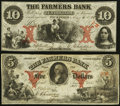 Obsoletes By State:Rhode Island, Wickford, RI- Farmers Bank $5; $10 Aug. 6, 1855 G8a; G10a Durand 2538; 2539. ... (Total: 2 notes)