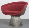 Furniture , Warren Platner (American, 1910-2006). Lounge Chair, 1966. Nickel-plated steel, fabric. 30 x 38 x 26 inches (76.2 x 96.5 ...