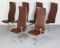 Furniture : Continental, Arne Jacobsen (Danish, 1902-1971). Six High-Back OxfordChairs, circa 1965, Fritz Hansen. Polyurethane over poplar andb... (Total: 6 Items)