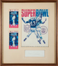 Football Collectibles:Others, 1969 Vince Lombardi Signed Cut Signature with Super Bowl III Program & Tickets Display. ...