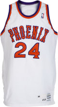 Basketball Collectibles:Uniforms, 1988-89 Tom Chambers Game Worn Phoenix Suns Jersey with TrainerLetter....