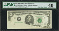 Error Notes:Foldovers, Fr. 1983-L $5 1993 Federal Reserve Note. PMG Extremely Fine 40.....