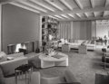 Photographs:Gelatin Silver, Julius Shulman (American, 1910-2009). Living room, The Perlberg Residence, by architect William F. Cody, circa 1950s. Ge...
