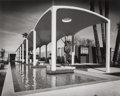 Photographs:Gelatin Silver, Erwin Lang (American, 20th Century). Spa entrance with reflecting pool, Palm Springs Spa, by architect William F. Cody, ...