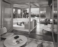 Photographs:Gelatin Silver, Julius Shulman (American, 1910-2009). View of living room and pool, Dorothy Levin Residence, by architect William F. Cody...