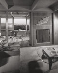 Photographs:Gelatin Silver, Julius Shulman (American, 1910-2009). By the fireplace, Dorothy Levin Residence, by architect William F. Cody, circa 195...