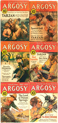 [Pulps]. Edgar Rice Burroughs. Complete Six Part Serialization of the Burroughs Story Tarzan and the City of Go