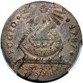 Colonials, 1787 Fugio Cent, STATES UNITED, 4 Cinquefoils, Pointed Rays -- Close Overlap Double Struck -- MS63 Brown PCGS. N. 11-X, W-6790...