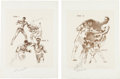 Boxing Collectibles:Memorabilia, 1971 Ali vs. Frazier Full Suite of Fifteen Etchings by LeRoy Neiman--Each Signed by Both Boxers and the Artist....