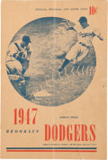 Baseball Collectibles:Others, 1947 Brooklyn Dodgers Program Signed by Jackie Robinson....