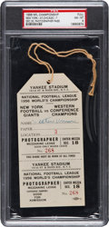 Football Collectibles:Tickets, 1956 NFL Championship Game Giants Vs. Bears Full Press Pass PSA NM-MT 8 - Only Graded Example! ...