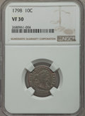 Early Dimes, 1798 10C Large 8, JR-4, R.3, VF30 NGC....