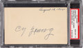 Baseball Collectibles:Others, 1955 Cy Young Signed Government Postcard, PSA/DNA Gem Mint 10. ...