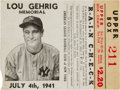 Baseball Collectibles:Tickets, 1941 Lou Gehrig Memorial New York Yankees Ticket Stub....