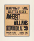Baseball Collectibles:Others, Circa 1870 Amherst vs. Williams Baseball Championship Broadside....