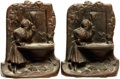 Books:Furniture & Accessories, [Bookends]. Pair of Matching Cast Iron Bookends Depicting Maiden atFountain. Unsigned, undated....