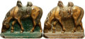 Books:Furniture & Accessories, [Bookends]. Pair of Matching Cast Iron Bookends Depicting FeedingHorse. Unsigned, undated....