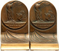 Books:Furniture & Accessories, [Bookends]. Pair of Matching Brass NFBPWC Bookends. Unsigned, dated 1919.. ...